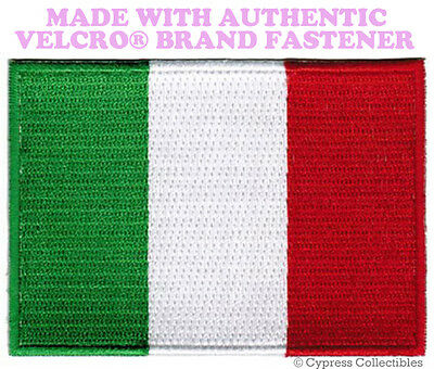 ITALY FLAG PATCH ITALIAN EMBROIDERED emblem TOPPA new w/ VELCRO® Brand Fastener
