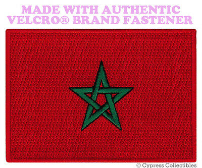 MOROCCAN FLAG PATCH EMBROIDERED new KINGDOM OF MOROCCO w/ VELCRO® Brand Fastener