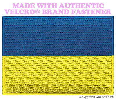 UKRAINE Flag PATCH With VELCRO® Brand Fastener Military Emblem White Border #7