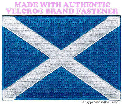 SCOTLAND FLAG PATCH SCOTTISH EMBROIDERED new SALTIRE w/ VELCRO® Brand Fastener