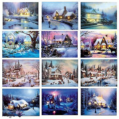 40 x 30cm Battery Operated LED Christmas Xmas Canvas Print Snowy Houses Wall Art