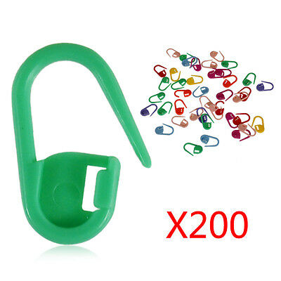 200pcs Plastic Stitch Knitting Crochet Locking  Needle Clip Markers Holder