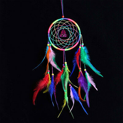Rainbow Color Ornament Feather Circle Bell Dream Catcher Wall Hanging Ornament