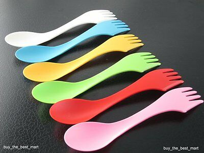 6x Travel Utensils Spoon Fork Knife Cutlery Camping Outdoors Spork Combo Set New