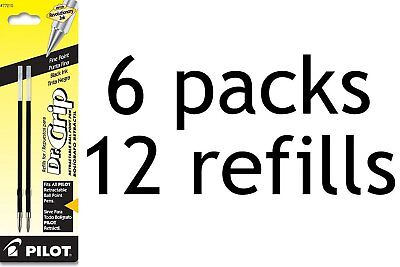 Pilot Dr. Grip Ballpoint Black Ink Refill 2-Refills for Retractable Pens 6-Pack