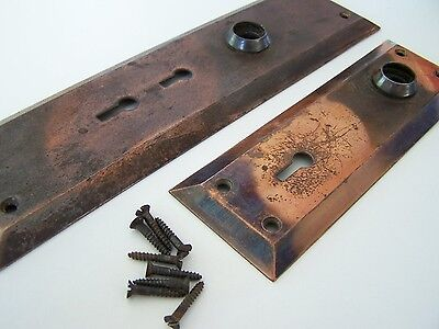 Vintage Copper Plated Entry Door Knod Backplates Double Key Holes