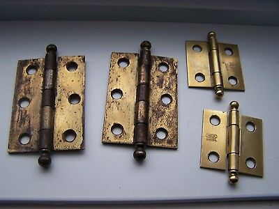 2 Pair VINTAGE Ball Tip BRASS Plated Steel Cabinet Door Butt Hinges