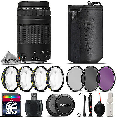 Canon EF 75-300mm f/4-5.6 III Lens + 4PC Macro Kit + UV-CPL-FLD Filter -32GB Kit