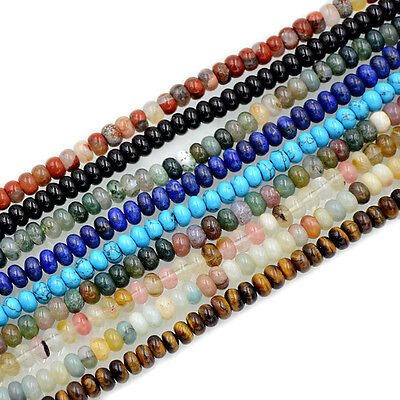 "4x6mm Natural Gemstones Rondelle Loose Beads 15.5"" Lot Jewelry Design Wholesale"