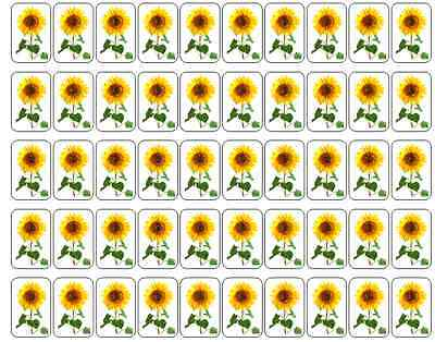 "50 Sunflower Envelope Seals / Labels / Stickers, 1"" by 1.5"""