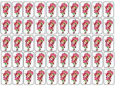 "50 Strawberry Shortcake Envelope Seals / Labels / Stickers, 1"" by 1.5"""