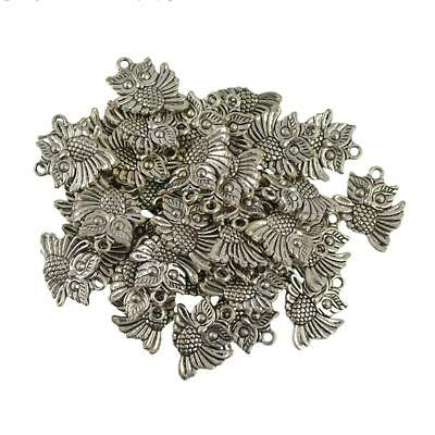 30pcs Tibetan Silver Charms Cute Owl Pendant Beads Craft DIY Jewelry Making