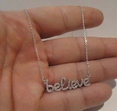 Believe Necklace  Pendant W/ 1.25 Ct Lab Diamonds /925 Sterling Silver/ 18 Inch