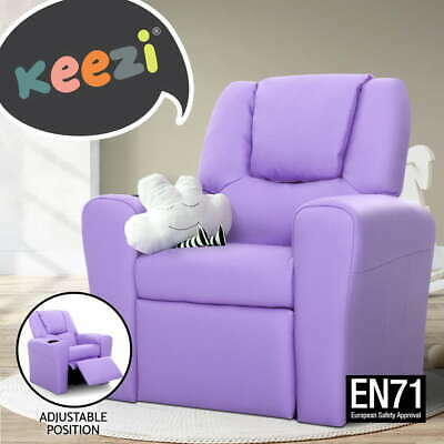 Luxury Kids Recliner Sofa Children Lounge Chair Padded Leather Arm Purple