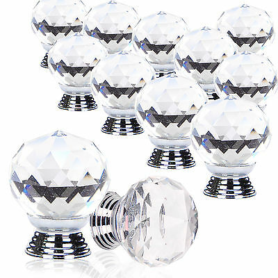 4/8/12/16PCS Crystal Glass Door Knobs Diamond Drawer Cabinet Furniture Kitchen