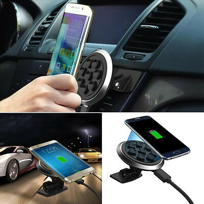 Car Qi Wireless Charger Dock Holder Charging Mount Pad For Samsung S7 S6 Edge