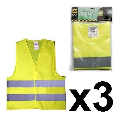 3 x AA CHILDRENS KIDS HIGH VISIBILITY REFLECTIVE FLUORESCENT JACKET SAFETY VEST