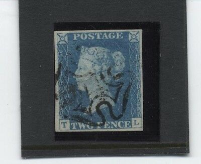 1840 Twopenny Pale Blue Plate 1 Black Cross (Tl) Sg 6