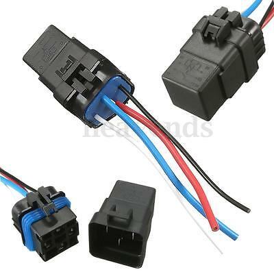 12V 40A 40 Amp 4pin Automotive Relay Socket Holder Waterproof Relay & Wires