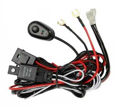 6f5066e99a7c New LED Light Bar Wiring Harness Kit 12V 40Amp Fuse Relay Push ON OFF Switch