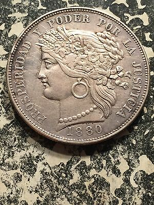 1880-BF Peru 5 Peseta Lot3873 Large Silver Coin! Beautiful Details, Old Cleaning