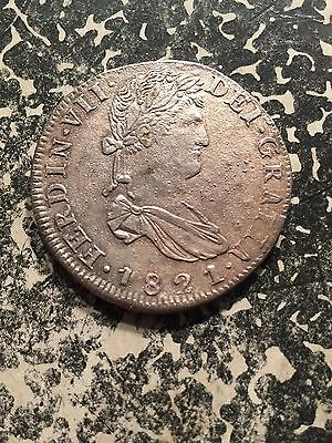 1821-Zs RG Zacatecas Mexico 8 Reales Lot3874 Large Silver! Beautiful Detail!