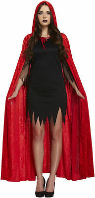 Long Red Velvet Hooded Halloween Devil Vampire Cape Fancy Dress Costume Cloak