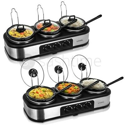 3 Hot Pot Slow Cooker & Buffet Server Food Warmer Thermostat Adjustable Heat