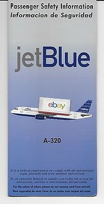 Jetblue 1999 Passenger Safety Card Information Airbus A320 English & Spanish