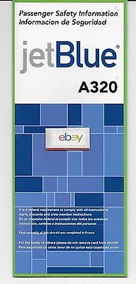 Jetblue 2007 Passenger Safety Card Information Airbus A320 English & Spanish