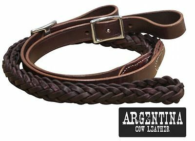 "Showman Braided Argentina Leather Roping Barrel Racing Contest Reins 92"" Long"