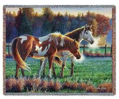 GRAZING HORSES COUNTRY PASTURE BUDDIES TAPESTRY THROW AFGHAN BLANKET 70x53