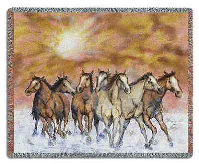 WESTERN EQUESTRIAN HORSE SUNSET RUN TAPESTRY THROW AFGHAN 70x54