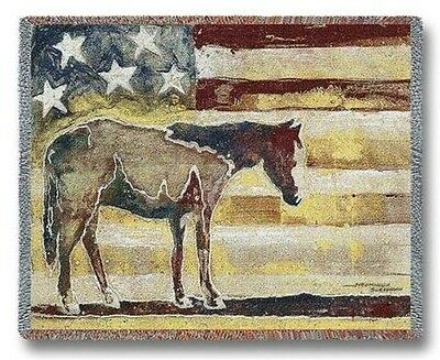WESTERN RUSTIC HORSE AMERICAN RED WHITE BLUE FLAG TAPESTRY THROW  BLANKET 70x54