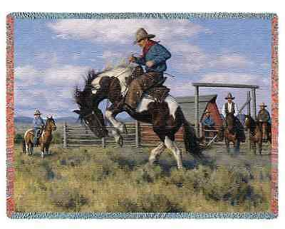 WESTERN COWBOY RODEO ROUGH RIDE BRONCO HORSE TAPESTRY THROW AFGHAN BLANKET 70x54