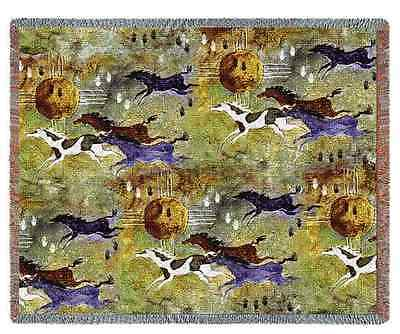 EQUESTRIAN HORSES OF ZIA TAPESTRY AFGHAN THROW BLANKET 70x53
