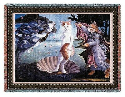 KITTY CATS ON A SEASHELL BIRTH OF VENUS TAPESTRY THROW AFGHAN BLANKET 70x53