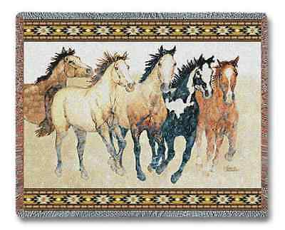 SOUTHWEST WILD HORSES WESTERN COWBOY STEPPING OUT TAPESTRY THROW BLANKET 70x53