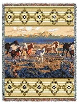 WESTERN MOUNTAINS SOUTHWEST WILD HORSES TAPESTRY THROW AFGHAN BLANKET 54x70