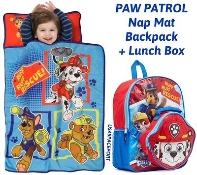 "Paw Patrol NAP MAT+16"" BACKPACK+LUNCH BOX SET Book Bag Toddler Daycare Preschool"