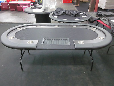 "84"" 7 Foot Pro Poker Table With Speed Felt [Black] + Dealer Tray + Jumbo Cup"