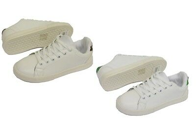 Ladies Women Lace Up Trainers Shoes Gym Flat Sports Baseball White