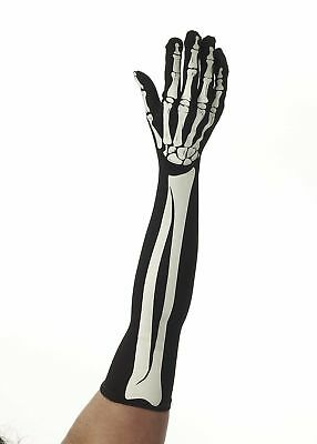 Skeleton Black White Bone Skull Long Elbow Gloves Hands Adult Costume Accessory