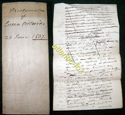 1837 HAWICK Original Draft notice PROCLOMATION OF QUEEN VICTORIA at Town Hall