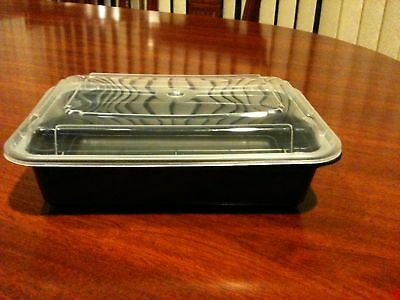 50 Black Plastic Containers With 50 Clear Lids (28Oz)