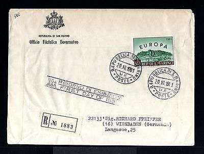 9275-SAN MARINO-REGISTERED FIRST DAY COVER SAN MARINO to WIESBADEN (germany)1961