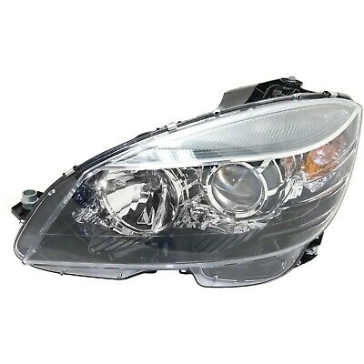 HEADLIGHT FOR 2008-2011 Mercedes Benz C300 Left Black Housing With Bulb