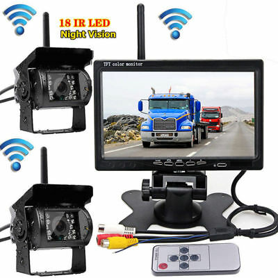 "2 Wireless Night Vision Rearview Back up Camera System+7""Monitor fr RV Truck Bus"