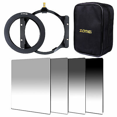 ZOMEI 100mm GND ND2+ND4+ND8+ND16 filter+77mm ring+holder+16 slotCase For Cokin Z