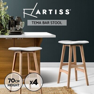 4x Oak Wood Bar Stools Wooden Dining Chairs Kitchen Side Padded White 3629